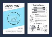 Diagram types and world map data, set of posters with diagrams and graphics, percentage and sample text vector illustration isolated on white. Diagram Types Wold Map Data Vector Illustration
