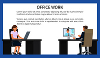 Office work bright poster vector illustration isolated on white background with two workers sitting at black tables with computers, text sample. Office Work Bright Poster Vector Illustration
