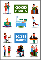 Good and bad habits, poster set with people and unhealthy lifestyle, smoking and drinking alcohol, awake at night,  isolated on vector illustration. Good and Bad Habits Poster Set Vector Illustration