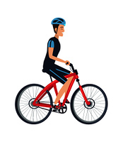 Male riding on bike vector illustration isolated on white background. Man in helmet, suit in blue and black colors, ride on bicycle in flat style. Male Ride Bike Vector Illustration Isolated White