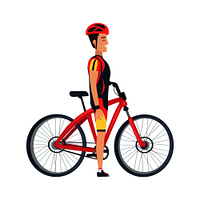 Male standing near bike vector illustration isolated on white background. Man in helmet, sportive suit side view and bicycle in flat style design. Male Stand Near Bike Vector Illustration Isolated