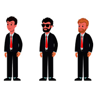 Cartoon characters in classic suit and tie side view, with different hairstyle and color, with beard and glasses vector illustration isolated on white. Cartoon Characters Classic Suit and Tie Side View