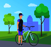 Male with bike, special suit in city park vector illustration on background of skyscrapers. Man in cap, side view, stand near bicycle in cartoon style. Male with Bike in Special Suit at City Park Vector