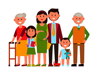 Family poster of happy members, pregnant mother, smiling father, kids and grandparents, toys and school supplies of girl, isolated on vector illustration. Family Poster of Happy Members Vector Illustration