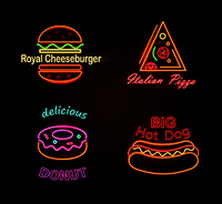 Royal cheeseburger and delicious donut,  italian pizza and big hot dog, collection of neon signboards with shinings, isolated on vector illustration. Royal Cheeseburger and Donut Vector Illustration