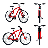 Bike with pedals and rudder front and side view, bicycle lumens headlamp vector illustration isolated on white background. Sportive active transport. Bike with Pedals and Rudder Front View, Bicycle