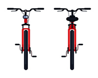 Bike with pedals and rudder front view, bicycle lumens headlamp vector illustration isolated on white background. Sportive kind of active transport. Bike with Pedals and Rudder Front View, Bicycle