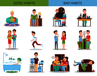 Good and bad habits collection, yoga and meditation, running and vegetables, and drinking alcohol, smoking and eating junk food vector illustration. Good and Bad Habits Collection Vector Illustration