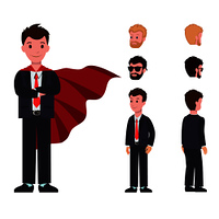 Smiling cartoon characters in classic suit, with red cloak, man constructor with different hairstyles front and back view vector illustration isolated. Smiling Cartoon Characters Classic Suit Red Cloak
