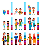 People and scale with years, kids and human getting older, cycle of life, parents and grandparents, vector illustration isolated on white background. People and Scale with Years Vector Illustration