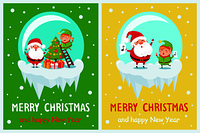 Merry Christmas and Happy New Year posters set Santa and Elf in glass ball decorate Xmas tree on ladder, sing carol songs vector illustration on snow. Merry Christmas Happy New Year Poster Santa Elf