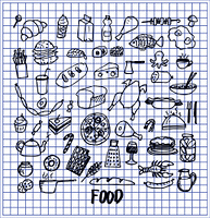 Many food pictures hand drawn vector illustration with chicken cheese fish hot-dog sushi pizza cake sweets ice-cream bread coffee and other dishes. Many Food Pictures Hand Drawn Vector Illustration