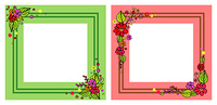 Set of photo frames in pink and green colors, with decorative floral elements in corners, with natural flower bouquets vector isolated on white. Set of Photo Frames in Pink and Green Color Vector