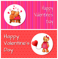 Happy Valentines day poster with two bears hugging on bench back view, and teddy girl child with heart shaped balloon vector greeting cards design. Happy Valentines Poster Bears Hug Teddy Balloon