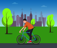 Cyclist on cute blue bike riding in green park, lot of buildings, blue sky with two clouds, three trees, orange t-shirt, color vector illustration. Cyclist in Green Park Color Vector Illustration