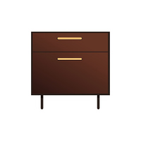 Pretty bedside cabinet isolated on white backdrop, furniture with two drawers, beige cabinet s handles, long stands, colorful vector illustration. Pretty Bedside Cabinet Isolated on White Backdrop
