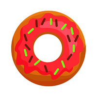 Donut in pink glaze with chocolate sprinkles icon. Sweet doughnut flat vector isolated on white background. Fresh fast food pastry illustration. Donut in Pink Glaze with Chocolate Sprinkles Icon