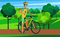 Sportsman sitting on light orange bicycle view from right vector illustration. Man wearing blue-and-yellow cycling clothing holding sports bottle. Sportsman on Bicycle View from Right Illustration