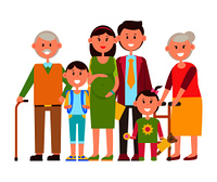 Family standing together, people of all ages, parents and children, teddy bear and toy, schoolchild and bagpack, vector illustration isolated on white. Family Standing Together Vector Illustration