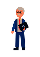 Elderly man standing with laptop and wearing suit, business person dealing with solutions and problems of corporation, isolated on vector illustration. Elderly Man with Laptop Poster Vector Illustration