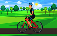 Man on red bicycle view from left vector illustration. Riding cyclist wearing blue helmet on sunny day in countryside filled with lush trees. Man on Bicycle View from Left Illustration
