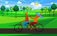 Boy and girl riding tandem bicycle vector illustration. Cartoon young blond male and female with light blue hair on double bike in countryside. Boy and Girl Riding Tandem Bicycle Illustration
