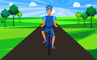 Man on bicycle front view vector illustration. Riding cyclist wearing blue helmet on sunny day in countryside filled with lush trees ride in park. Man on Bicycle Front View Vector Illustration.