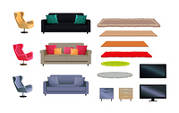 Interior collection of sofas with cushions and fluffy carpets TV sets and armchairs, chest of drawers vector illustration isolated on white background. Interior Set of Sofas, Carpets Vector Illustration