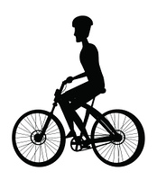Person riding on bike in cap, sport biking transport monochrome icon side view. Cyclist on bicycle black silhouette isolated on white background. Person Riding Bike in Cap, Sport Biking Transport