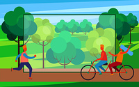 People riding bike and running on skate rollers in summertime park. Colorful vector illustration with frame with room for text in center. Man on Skate Rollers and Couple on Bicycle in Park