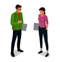 Man in green jacket, jeans with laptop in glasses and faceless woman with notebook vector isolated on white. Student or college cartoon characters. Man and Woman with Laptops Cartoon Characters