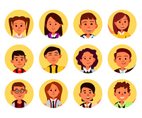 Schoolchildren face front view close-up school selfie vector illustration. Happy classmates, boys and girls isolated on white. Children Face Front View Close-up School Selfie