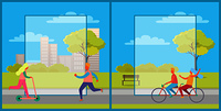 Set of two posters with people riding bike and kick scooter. Vector illustration with people doing sport in city park with frames for text in center. Set of Posters with People Having Fun in City Park