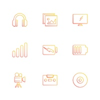 computer,  internet,  multimedia,  infrared,  camera,  technology,  music,  microphone,  speaker, tv, wifi,  network,  battery,  icon, vector, design,  flat,  collection, style, creative,  icons