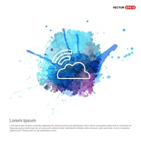 Cloud Signal Icon - Watercolor Background