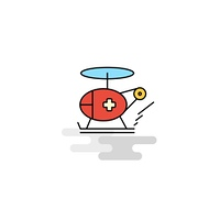 Flat Helicopter ambulance  Icon. Vector