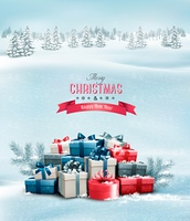 Holiday Christmas background with gift boxes. Vector.