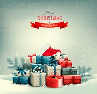 Holiday Christmas background with gift boxes and a santa hat. Vector.