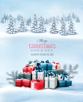 Holiday Christmas background with gift boxes and landscape. Vector.