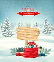 Holiday Christmas background with a sack full of gift boxes and wooden sign. Vector.