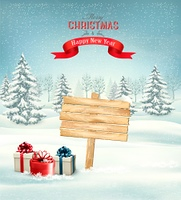 Winter christmas landscape with a wooden ornate sign background. Vector.