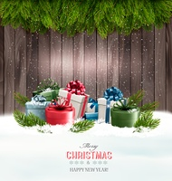 Christmas background with gift boxes and tree branches. Vector.
