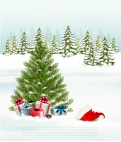 Winter background with a christmas tree, presents and a santa hat. Vector.