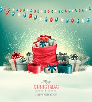 Holiday Christmas background with a sack full of gift boxes and garland. Vector
