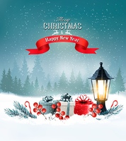 Christmas background with a lantern and a colorful gift boxes. Vector