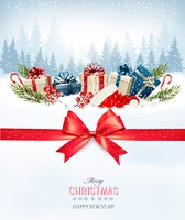 Holiday Christmas background with a gift boxes and Santa hat. Vector