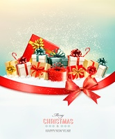 Holiday Christmas background with presents.and a gift bow. Vector