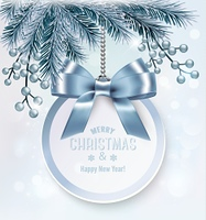 Christmas background with a gift card and branches of tree. Vector.