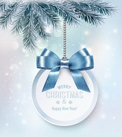 Holiday Christmas background with a gift card and a blue bow. Vector