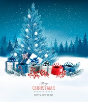 Holiday background with a blue Christmas tree and presents. Vector.